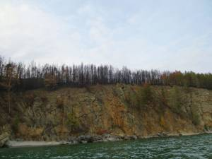 shore line - there were serious forest fires this summer around Lake Baikal