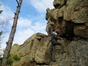 climbing a cliff