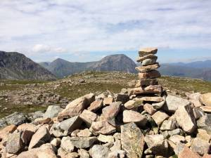 pile of stones at the top