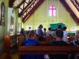 to listen to the choir's beautiful harmonies