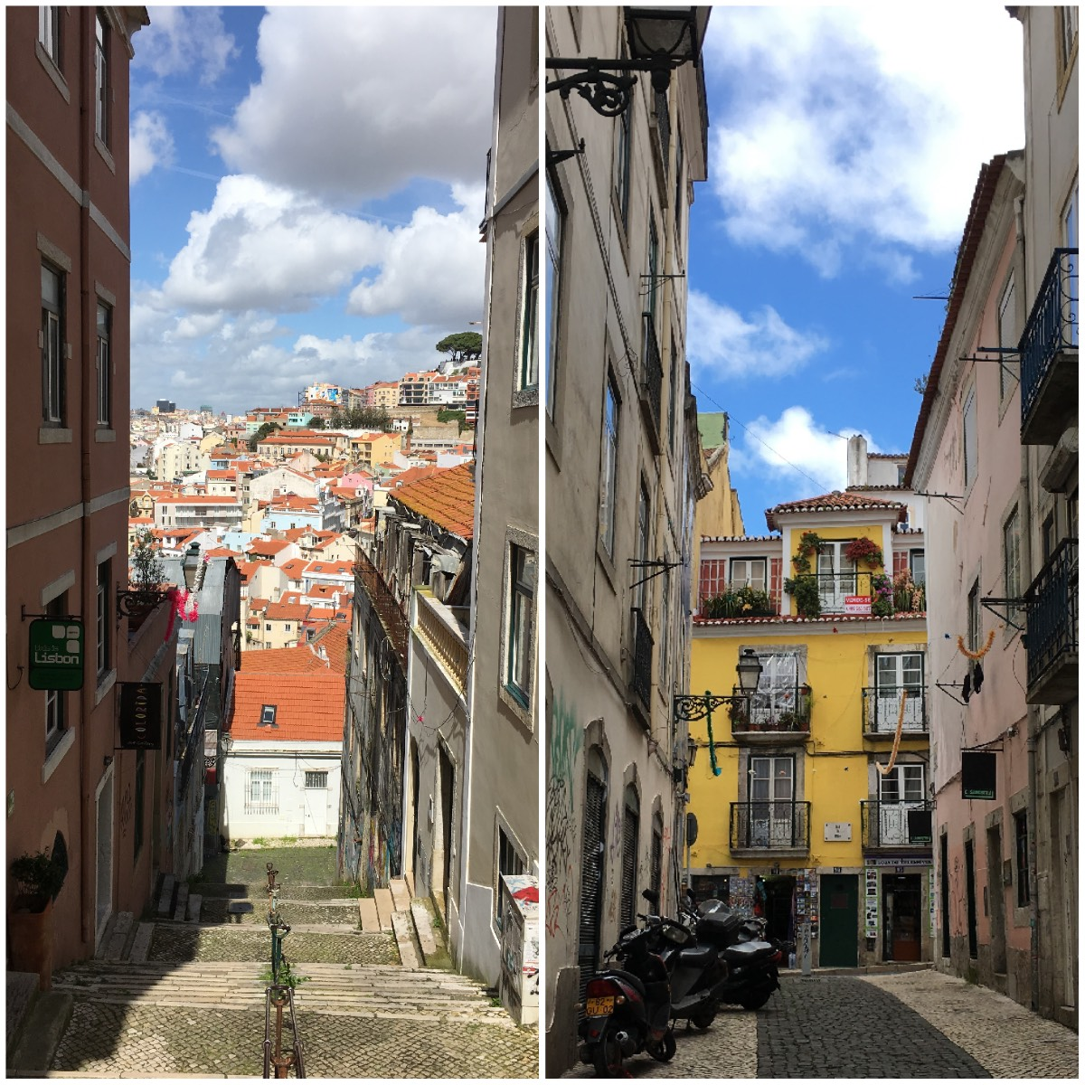 two pictures of alleys: left with a view houses, right a view on an old yellow building