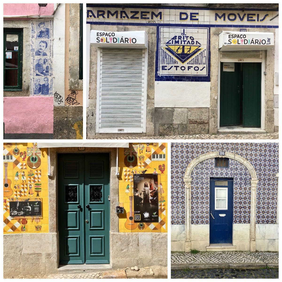 differently and colorful tiled entrances and doors to old buildings