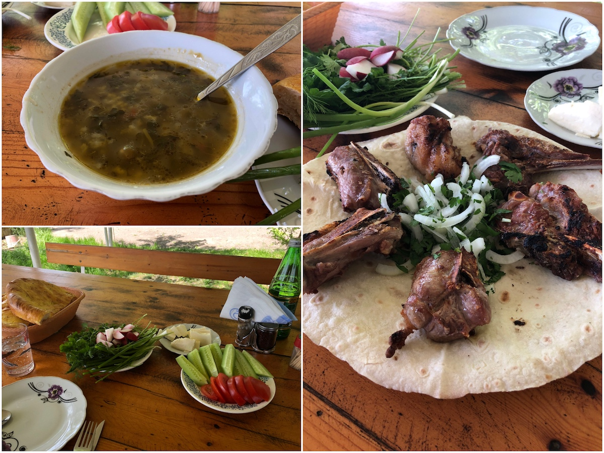 Soup, Salad, and grilled lamb ribs with greens