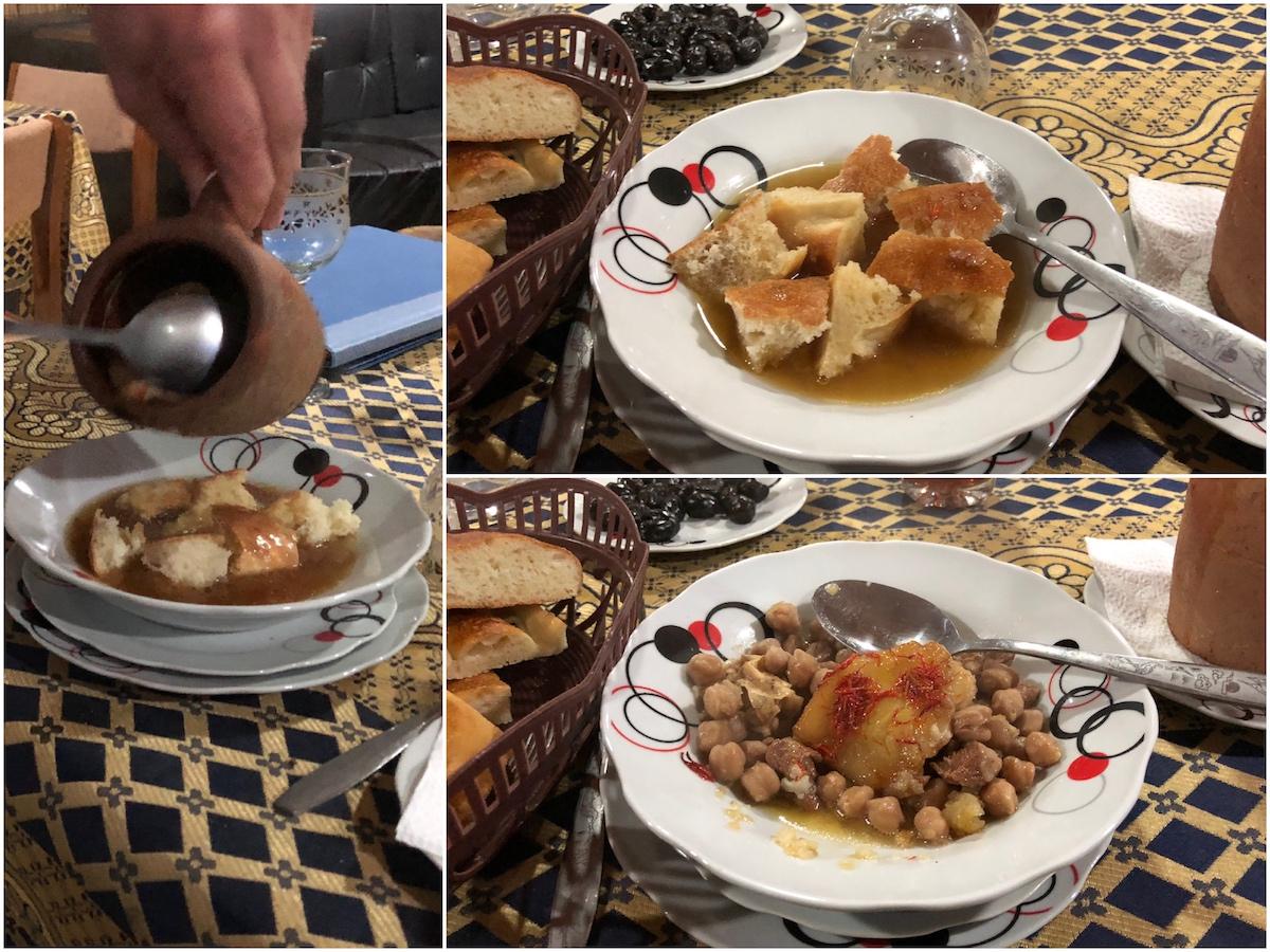Piti - bread with lamb broth, chickpeas, lamb and a lump of lamb fat