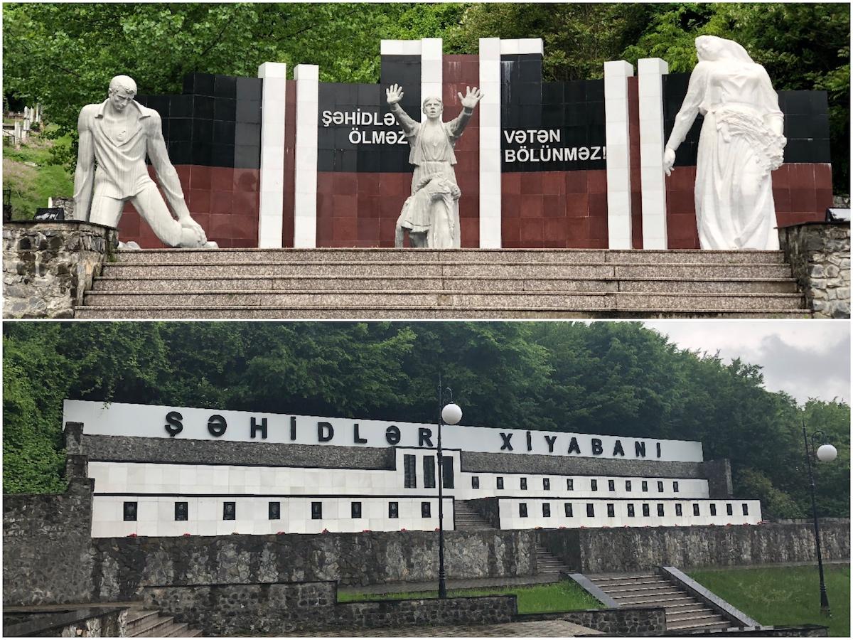Statuen und Soldatengräber in Steinmauer
