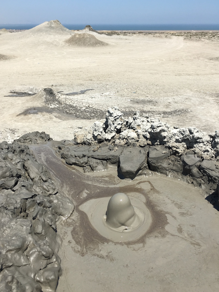 a Small mud volcano explosion
